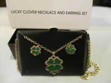"AVON Lucky Clover Necklace & Earrings Set Gold tone & Enamel 20"" L Post Earrings"