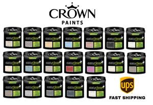 CROWN 2.5L Easy Clean Matt Emulsion Paint Stain & Scrub Resistant Formula New