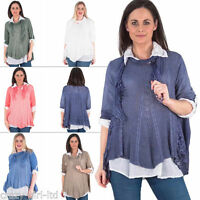 Womens Italian Lagenlook Scarf Shirt Ladies Tunic Top Plus Size 10 12 14 16 20 L