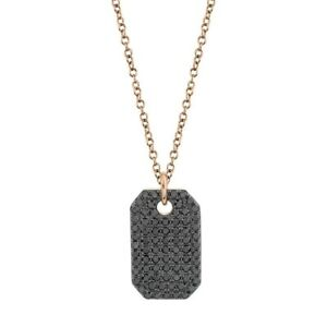 Black Diamond Dog Tag Pendant ID 14K Rose Gold Necklace Round Cut Natural 1.00CT