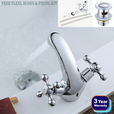 Traditional Victorian Bathroom Chrome Basin Sink Mixer Mono Tap Twin Cross Head