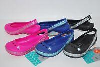 NWT CROCS GENNA II HEARTS GIRLS PINK BLACK BLUE 9 11 12 13 6 SLINGBACKS sandals