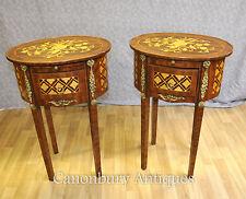Paire empire français tables nightstands tables de chevet parquetry