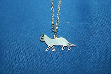 Whiteside & Blank Vintage Sterling Silver and Enamel Siamese Cat Necklace