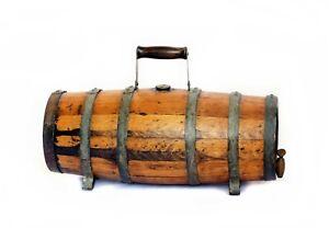 Antique Sherry Barrel with Metal Banding, Brass Cap and Spigot
