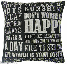 "FILLED DON'T WORRY BE HAPPY BLACK BEIGE COTTON BLEND CUSHION 18"" - 45CM"