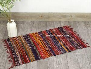 Indian Rag Rug Dari Chindi Throw Woven Handmade Cotton Floor Yoga Mat 2X3 FT