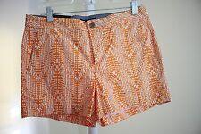 Banana Republic Hampton Fit Cotton Blend Orange & White Casual Shorts- 6