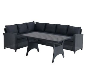 Garden Rattan Set Corner Sofa Large Coffee Table Patio Conservatory Grey Black