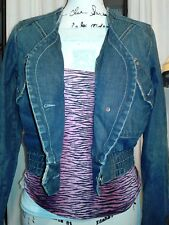 Women Denim Levi Stone Washed V Neck Button Frontal Jacket
