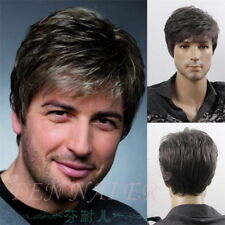 UK Handsome Men Short Black Grey Mix Natural Hair Male Cosplay Costume Full Wigs