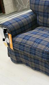 IKEA Ektorp COVER for Corner Sofa 2+2 Sectional SLIPCOVER Rutna Blue Plaid 4Seat