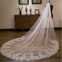 3M Women White Sequins Bride Embroidery long Wedding head hair Veil with comb