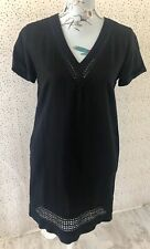 Brand New Next Petite Linen Blend Black V Neck Dress Size 6 Summer