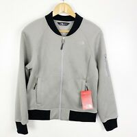 The North Face Womens Bomber Jacket Kelana Bonded Fleece Medium Gray Full Zip