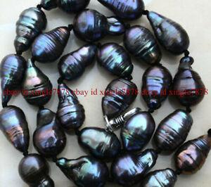 "Natural 10-15mm Black Baroque Black keshi Reborn Pearl Necklace 20"" Silver Clasp"