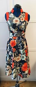 Looking Glam Size 8/10 Tea Dress, Navy Floral with Orange Highlights
