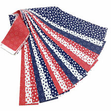 Patriotic Jelly Roll 18 Fabric Strips Pre Cut 2.5 x 43 Inch Red White Blue Stars