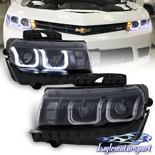 [CCFL U Style Tube] 2014 2015 Chevy Camaro Projector Black Headlights Pair