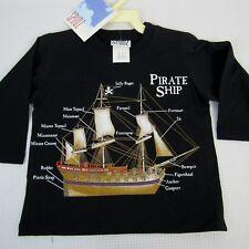 Boys Pirate Ship T-Shirt 2T Black 3/4 Sleeves S.P.UDZ