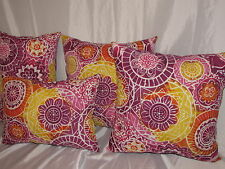 "4 THROW PILLOW  CUSHION COVER 2 17X17"" 2 12X17"" FLORAL INDOOR OUTDOOR"