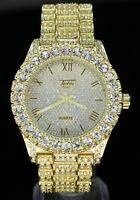 Mens 14k Gold Plated Iced out Simulated Diamond Hip Hop Rapper Techno Pave Watch