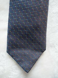 Hermes 100% Silk Tie -- Red, Blue, and Yellow Polka Dots on Black