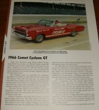 ★★1966 MERCURY COMET CYCLONE GT OFFICIAL PACE CAR SPECS INFO PHOTO CONVERTIBLE★★