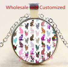 Vintage Cute Cat Cabochon Tibetan silver Glass Chain Pendant Necklace #4612