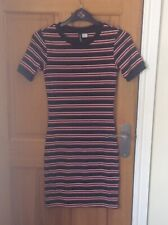 Ladies H&M Bodycon Dress - Knitted Style In Black Red And White Size 8