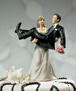 To Have and to Hold Bride Carrying Groom Funny Wedding Porcelain Cake Topper
