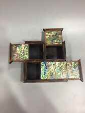 Chinese Antique Shell inlaid three open jewelry box
