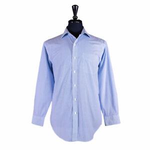 Ralph Lauren Men's Button Up Shirt Long Sleeve Blue Striped Cotton 15.5 Medium