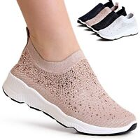 Damen Plateau Sneaker Light Slipper Glitzer Keilabsatz Slip On Turnschuhe