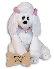 WHITE French POODLE Personalized Ornament Handmade Polymer Clay by Deb & Co