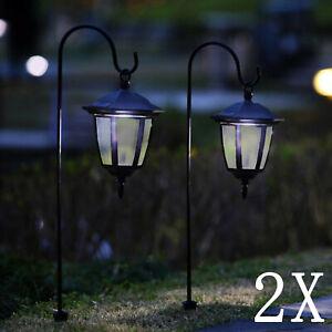 2x Solar LED Shepherd Style Hanging Garden Lantern Coach Outdoor Lamp Lights