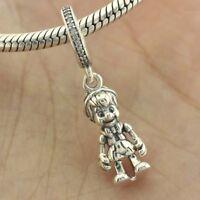 925 Sterling Silver Disne Pinocchio Dangle Charm Clear CZ Pendant Fit Bracelet