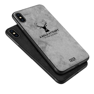 3D Deer Thin Slim Canvas Phone Case Cover For iPhone XS Max XR X Plus Pro 11 8 7
