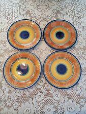 Set of 4 Pier 1 hand painted Italian swirl dessert, salad plates