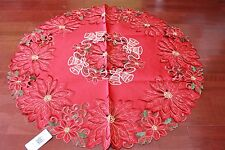 Tailor Made Embroidered Christmas Red Tablecloth 85 cm round coffee table  Xmas