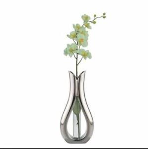 Nambe Bud Vase w/Silk Orchid & Glass Tube design by Steve Cozzolino Original Box