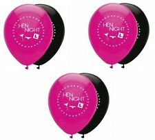 "6 Hen Party Girls Night Out Bridal Bash Decoration Pink Black 12"" Latex Balloons"