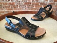 Clarks Black Leather Cutwork Leisa Lakelyn Lightweight Sandal 9W Sale