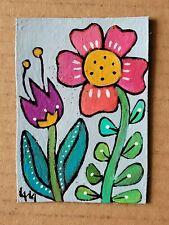 ORIGINAL ACEO Painting Folk Art Flower Whimsical Tulip Botanical Leaf Nature