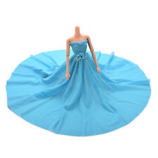 Blue Party Doll Dress With Flowers Clothes Gown For Barbie Kids Gift
