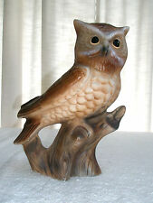 Large Vintage Ceramic Owl Planter Sits on Tree Stump