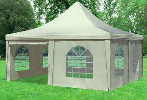 5x5 m Pavillon Partyzelt Festzelt Pagode PVC Arabica incl Seitenwände Beige
