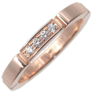 Authentic Cartier maillon Panthère 4P Diamond Ring Rose Gold #51 US5.5 Used F/S