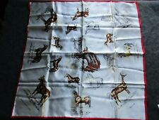 """HORSES, VINTAGE EQUESTRIAN LADY'S SCARF,  30"""" X 30"""" HORSE MOTIFF , SD-04588"""