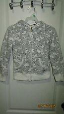 Youth Girls S 7 8 Sideout Full Zip Hoodie Jacket Love Hearts Pattern White Black